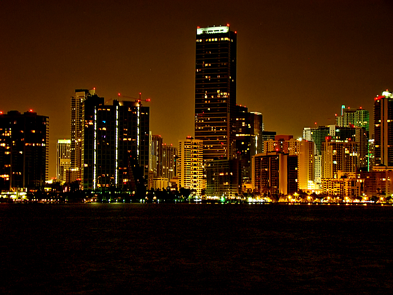 miami, beach, night, city, lights, beautiful, view