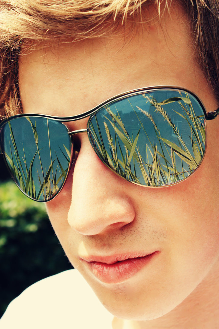 summer, guy, man, face, sunglasses, reflection, close-up