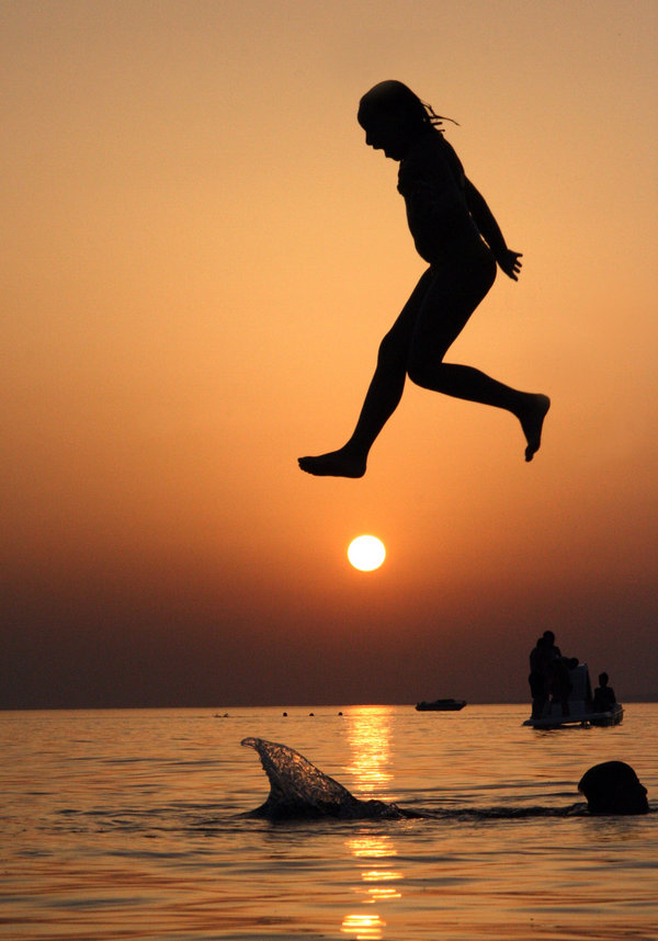 summer, sea, swimming, sunset, girl, jump