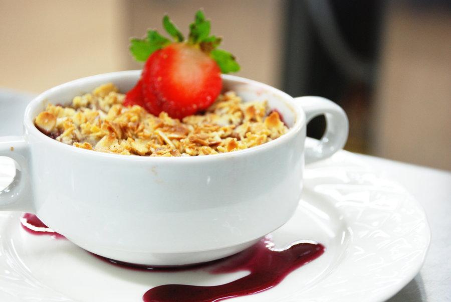 coffee, peanuts, strawberries, dessert, a cup