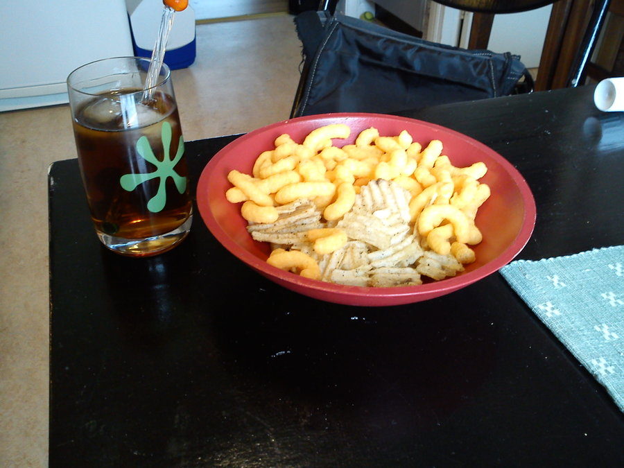 flakes, chips, tea, food, snacks, breakfast