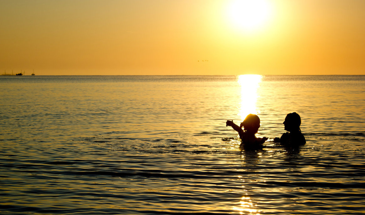 sea, sky, sun, man, woman, summer