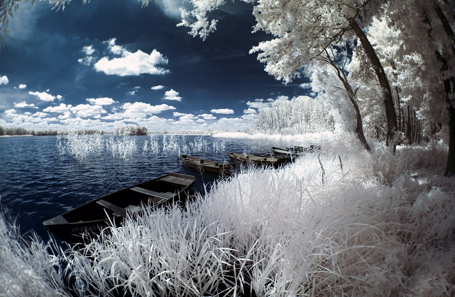 winter, lake, wonderful, boats, nature