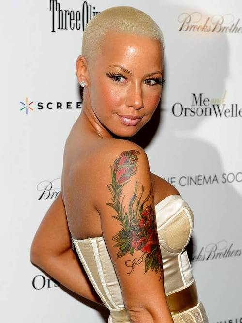 amber rose, color, tattoos, arms, rose, cute, woman