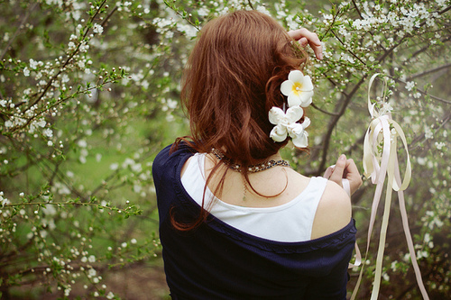 cute, girl, hairstyle, flowers, lady, nice