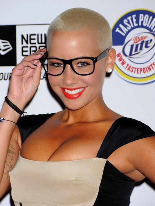 Nice Short Haircut Girl Amber Rose Celebrity Glasses Pics