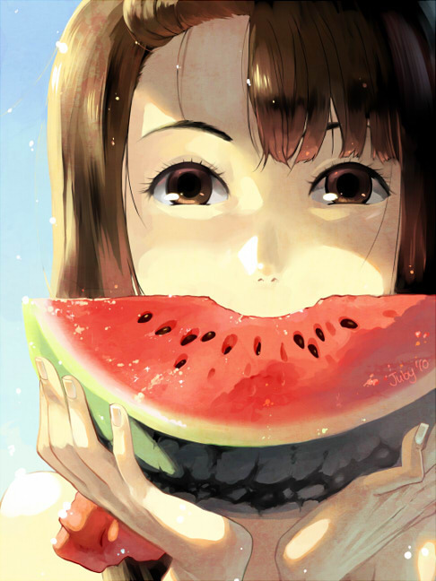 watermelon anime girl eyes delicious fav images