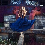 abandoned, terrain, photo, shoot, girl, blue, dress