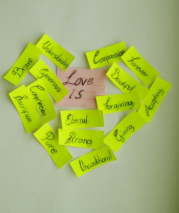 bright, green, notes, form, heart, love