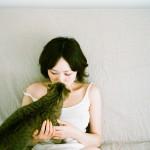 cute, brunette, kissing, striped, cat