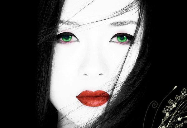 green, eyes, red, lipstick, japanese, geisha