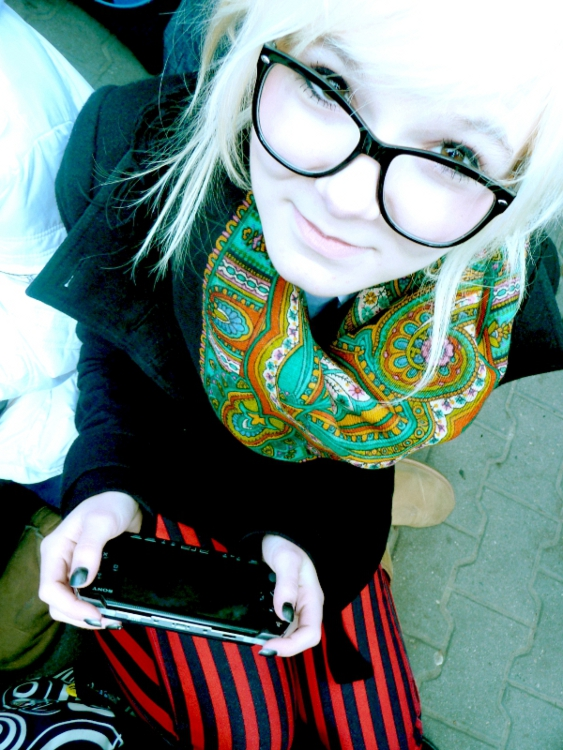 phone, glasses, striped, leggings, colorful, scarf