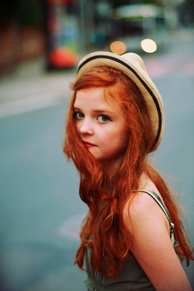 small, cute, redhead, girl, light, hat