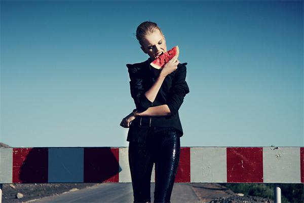 watermelon, slice, food, girl, leather, leggings