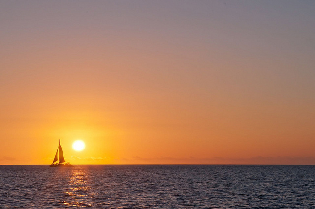 sky, sun, ocean, sailboat, horizon, waterscape