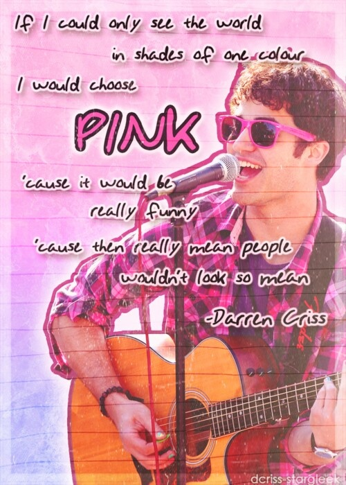 Darren Criss Quotes Sayings Pink Color Fav Images