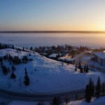 sunrise, snow, fog, morning, houses, lake, winter, canada