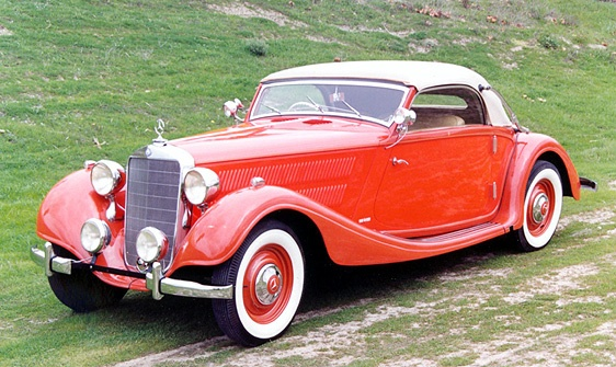 1928 Mercedes Benz 320 Cabriolet, red car, pictures