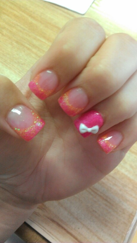 Cute Nail Designs For Acrylic Nails Acrylic Nails With Bow Cute