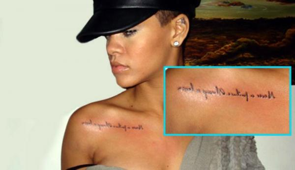 celebrity, tattoos, tattoo, design, ideas, rihanna, lettering, cool