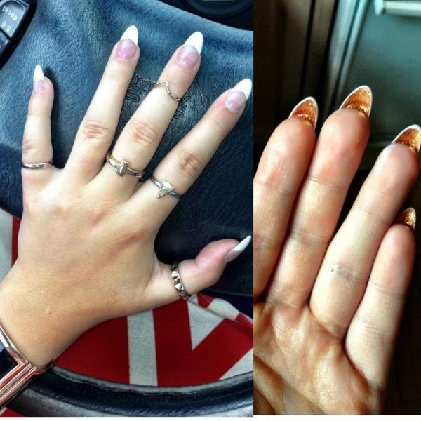 french stiletto nails with gold bottom designs manicure