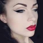 make up tips for eyeliner, cute face, red lips