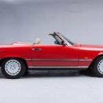 Mercedes Benz 500SL, R107, red car, side view, cabriolet
