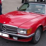 Mercedes Benz 560 SL, cabriolet, red car, roof up