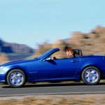 Mercedes Benz SLK 320, R170, blue car, motion, side view