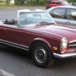 Mercedes Benz W113, red car, cabriolet, retro