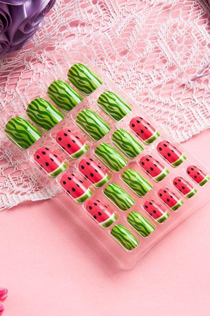 nails design, Watermelon Print Acrylic UV Gel False Nail