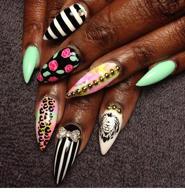 Stiletto Nail Art 2013: Stiletto Nails, Designs, Manicure, Dark Skin