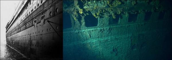 Sunken Ship Titanic Under Water Side View Fav Images