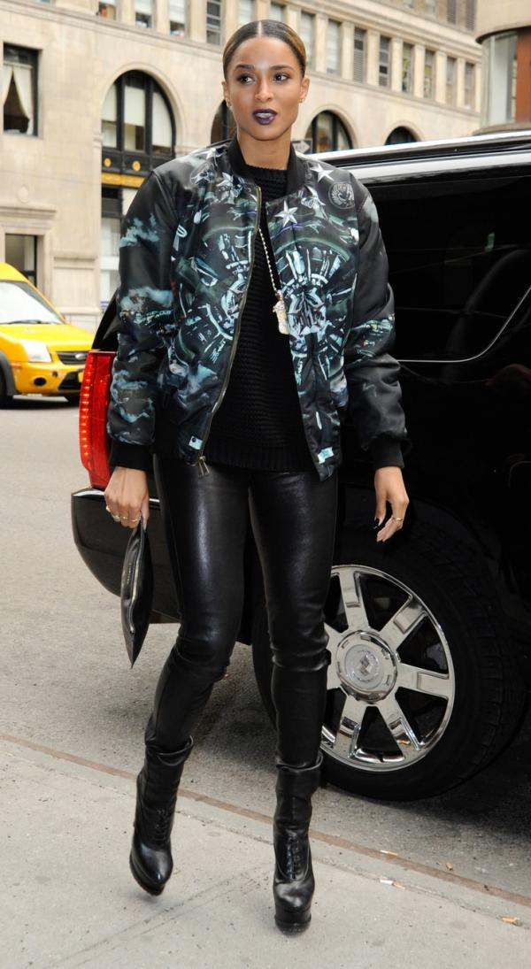 2013 Ciara Singer Street Style Leather Pants Jacket Fav Images Amazing Pictures
