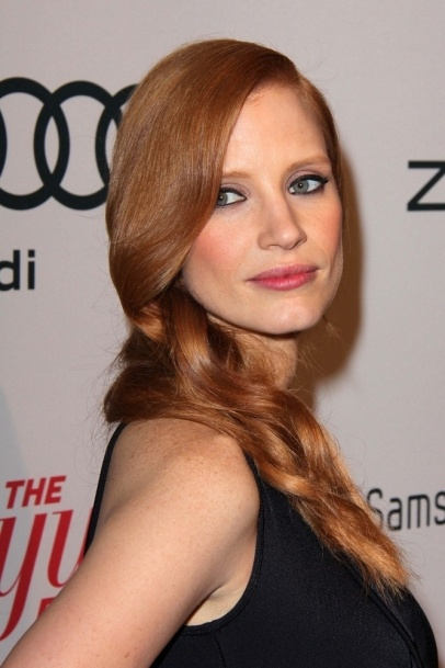 2013 Jessica Chastain, hairstyle, makeup, actress, redhead