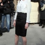 2013 Jessica Chastain, style, white blouse, black skirt
