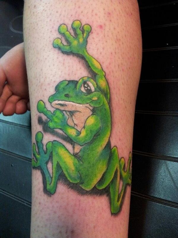 3d green frog tattoos style fav images amazing pictures