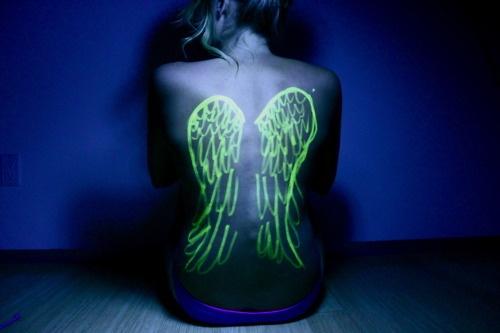 Black Light Tattoos Girl Wings Back Fav Images