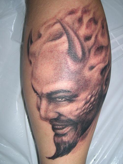 devil tattoos leg pics portrait fav images amazing pictures. Black Bedroom Furniture Sets. Home Design Ideas