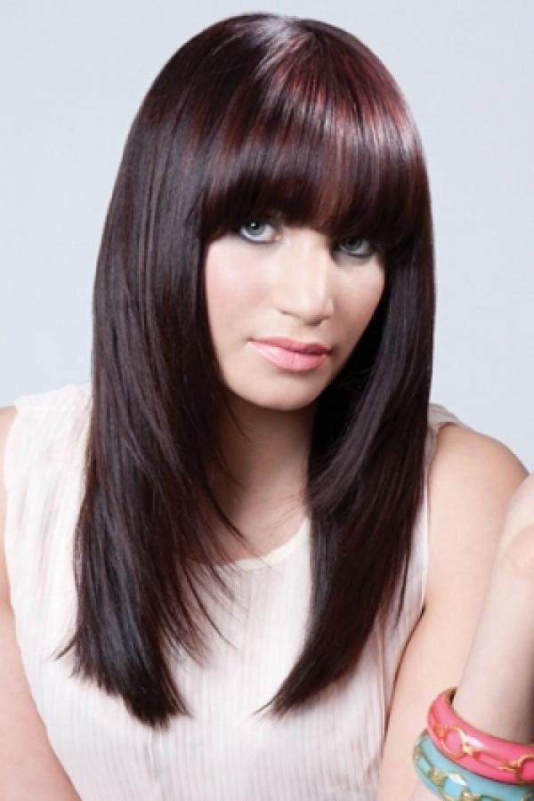 Фото стрижек для длинных волос с челкой