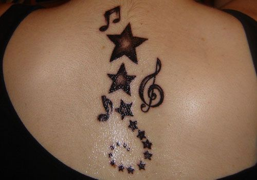 Music Notes Tattoos on Back Music Notes Tattoos Stars