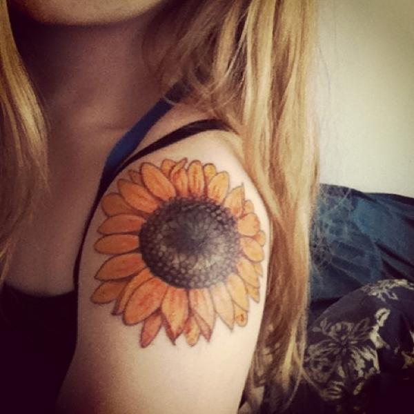 Sunflower Shoulder Tattoo