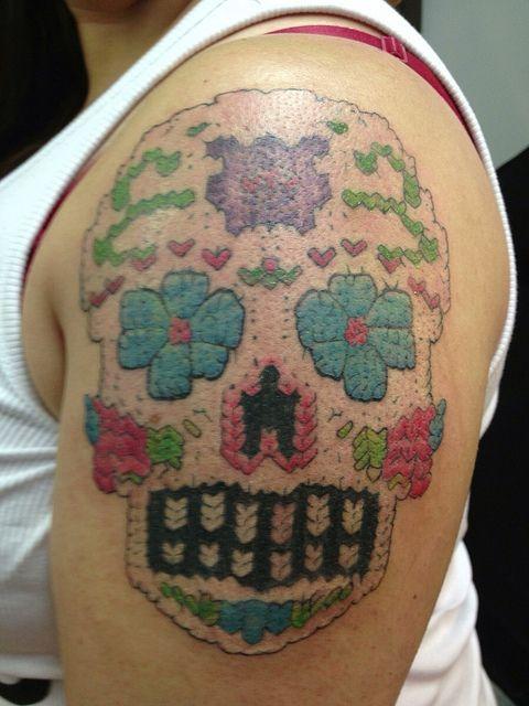 sugar skull tattoos, knitted tattoo, shoulder | Fav Images ...