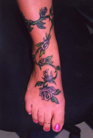 vine tattoos blue rose design leg foot fav images amazing pictures. Black Bedroom Furniture Sets. Home Design Ideas