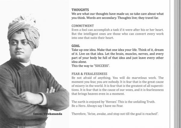 swami and his thoughts Aim of education according to swami vivekananda article shared by moral and spiritual powers leading to purity of thoughts, words and deeds advertisements.