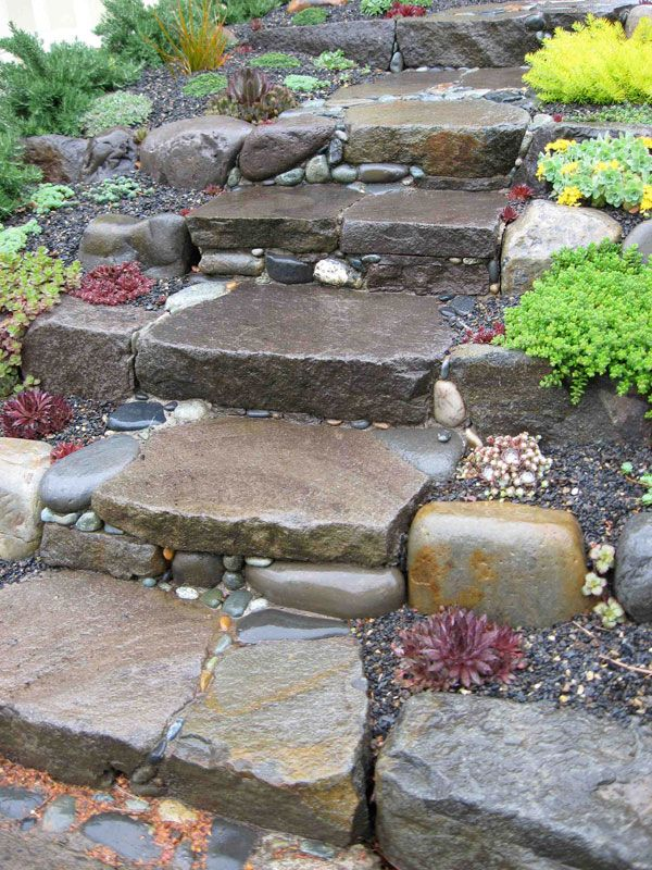 how to build stairs ontop rock hill