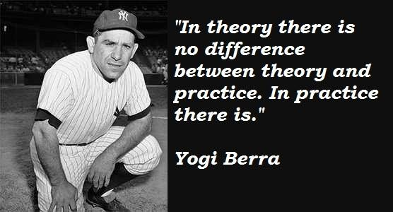 Yogi Berra Quotes and Sayings, practice, theory