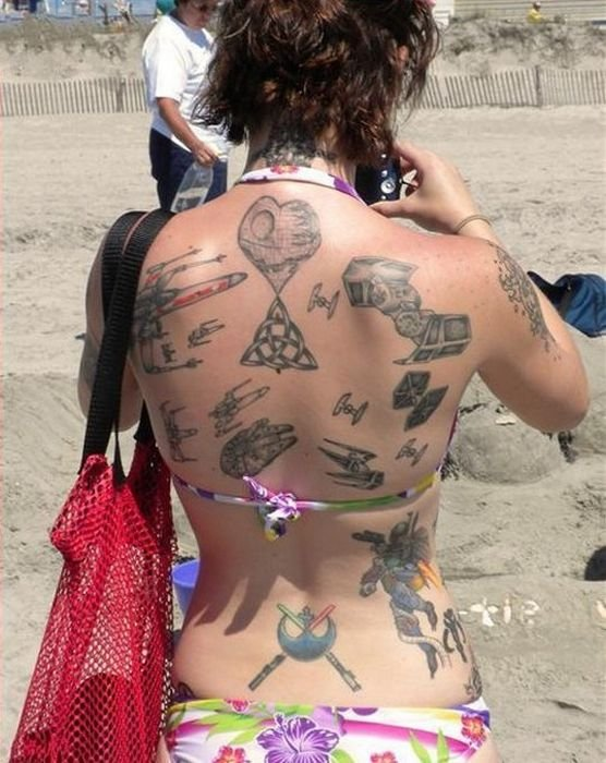 style, star wars, tattoos, design, movie, color, back, lady
