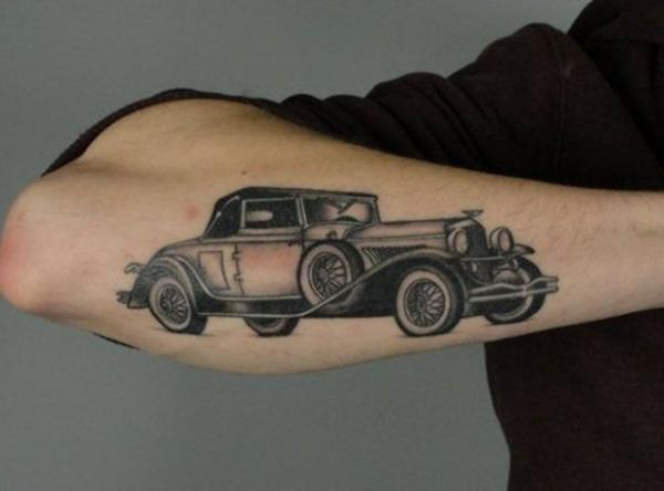 car tattoos, color, 3d, design, idea, body, arm