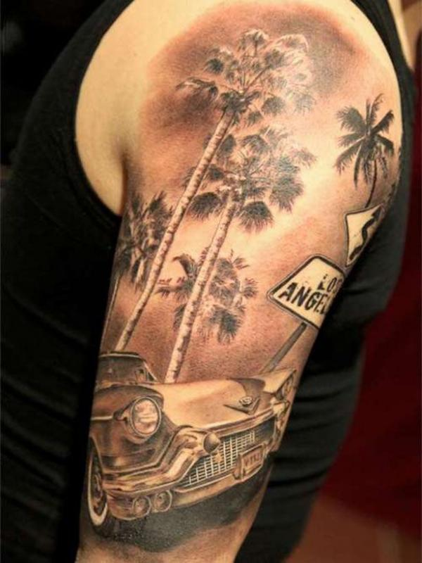 car tattoos, color, 3d, design, idea, body, picture